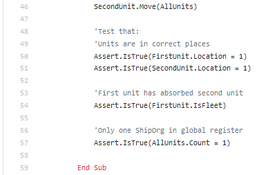 source code of a space ship unit test